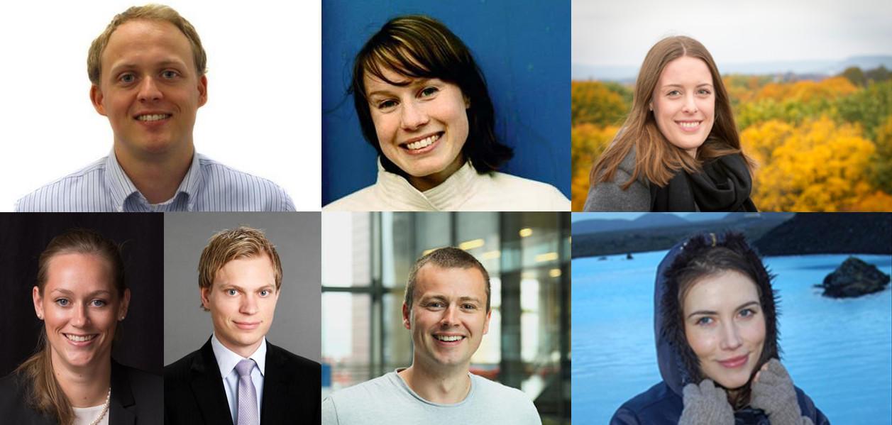 Collage av tidligere studenter ved Institutt for økonomi