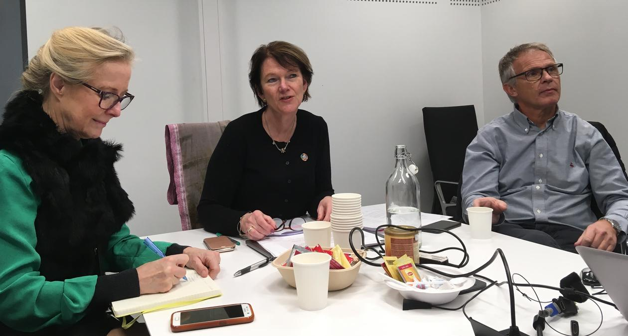 Director Lise Øvreås from Ocean Sustainability Bergen flanked by her University of Bergen colleagues Karin Pittman (left) and Anders Goksøyr during the first meeting of the IAU SDG14 Team.