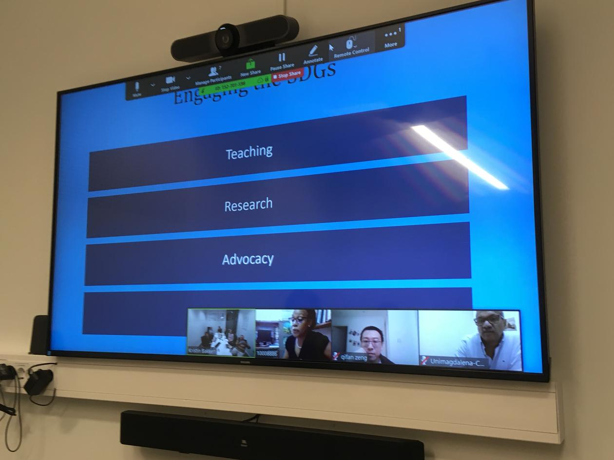 Shot of screen during first virtual meeting in the IAU SDG14 Team on 20 November 2019.