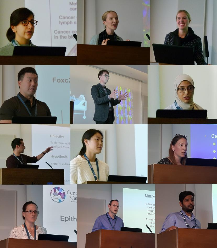 a collection of portrait photos of young researchers as speakers on stage.