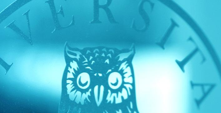 illustrasjon av UiB uglen i blått