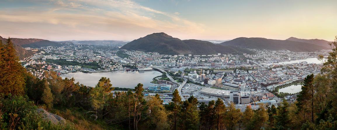 Illustrasjon som viser byen Bergen