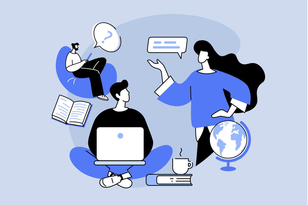illustrasjon av tre mennesker som snakker, skriver på pc, leser i bok