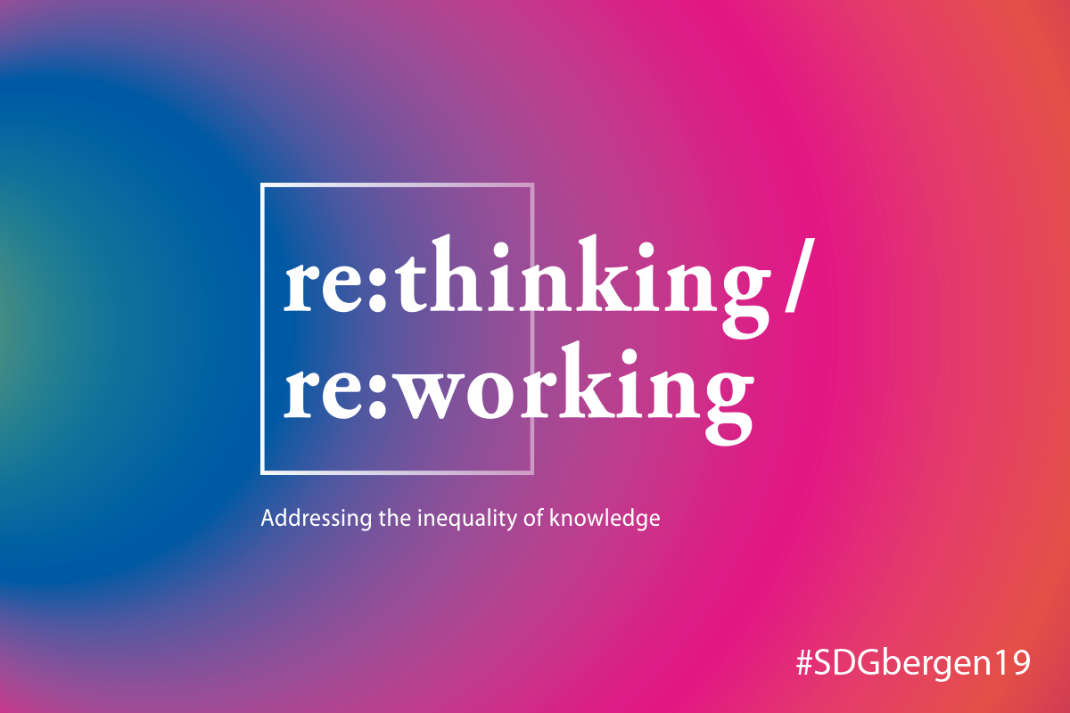 Logo for the 2019 SDG Conference Bergen with the concept re:thinking/re:working and including the hashtag #SDGbergen19