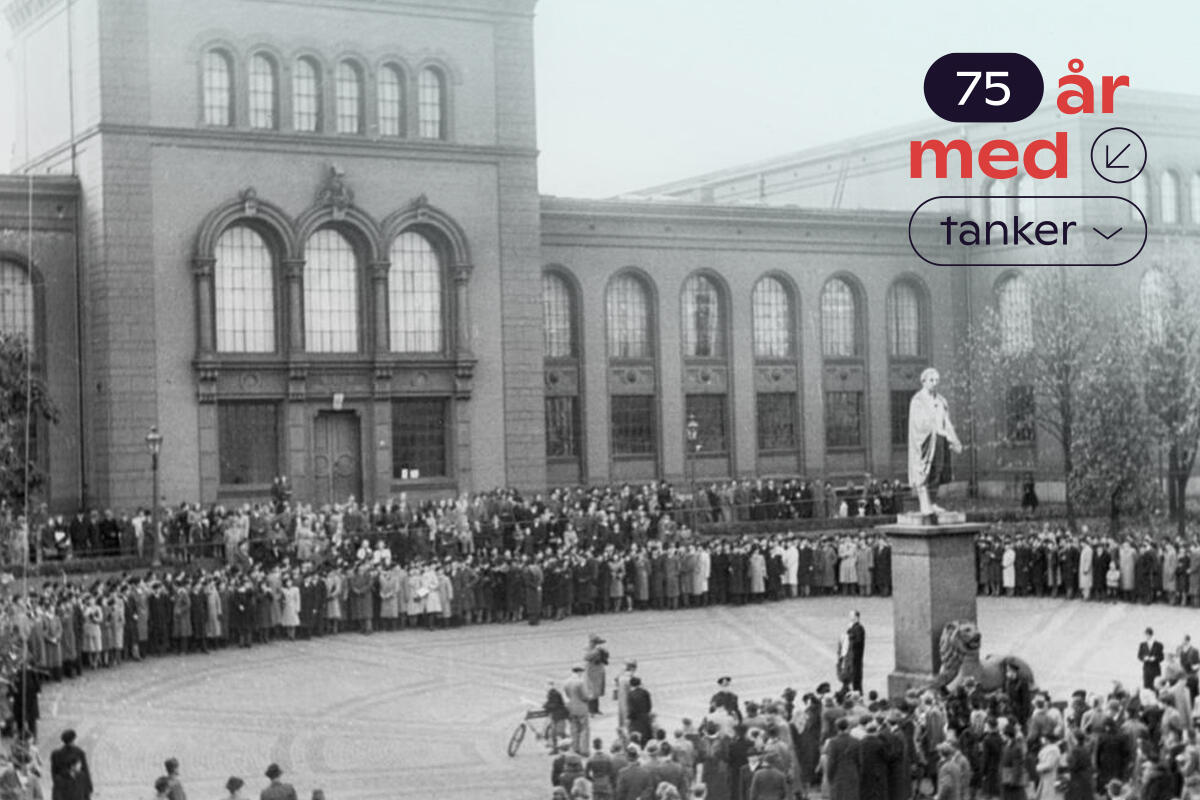 """From the opening of UiB in 1946. The University Museum depicted with many people in the square. At the top right it says """"75 years of thoughts"""""""
