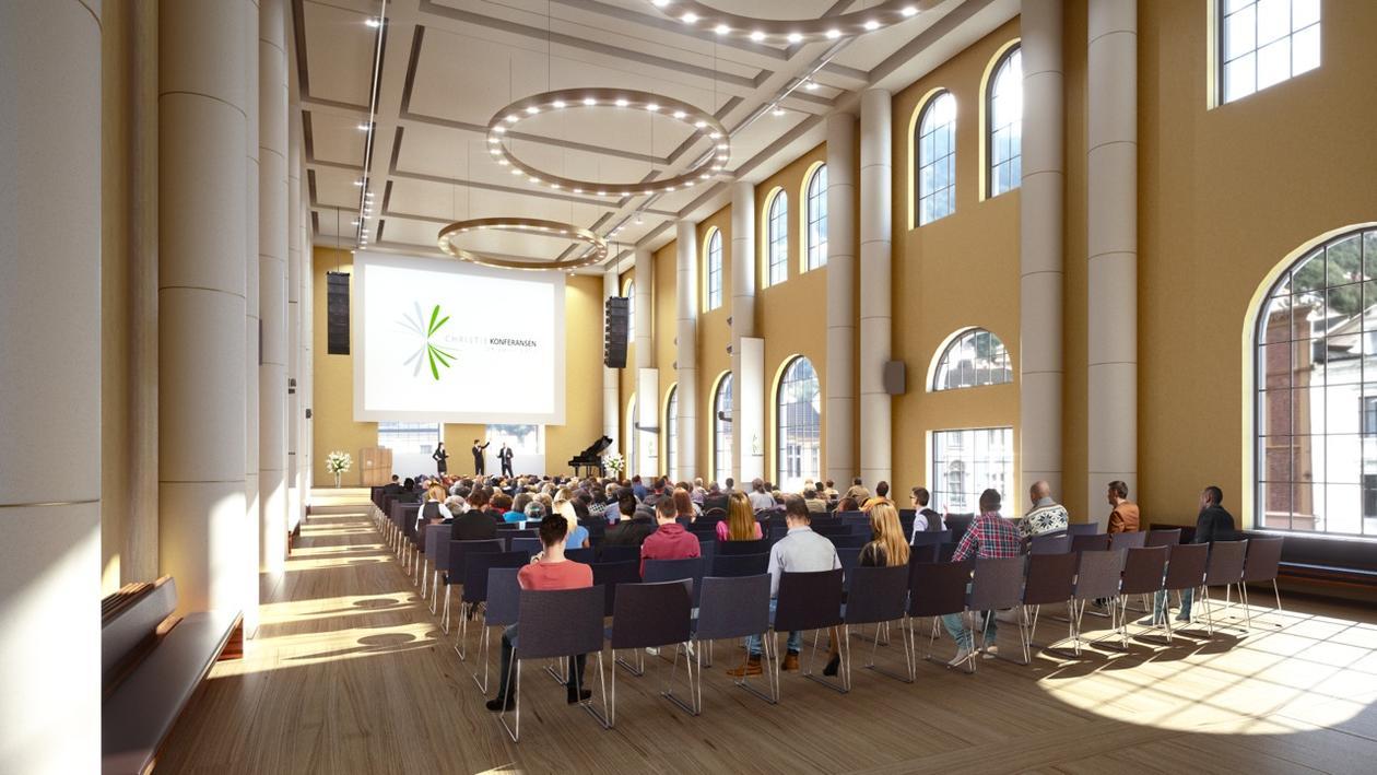 Illustrasjon av Universitetsaulaen i Bergen - konferanse
