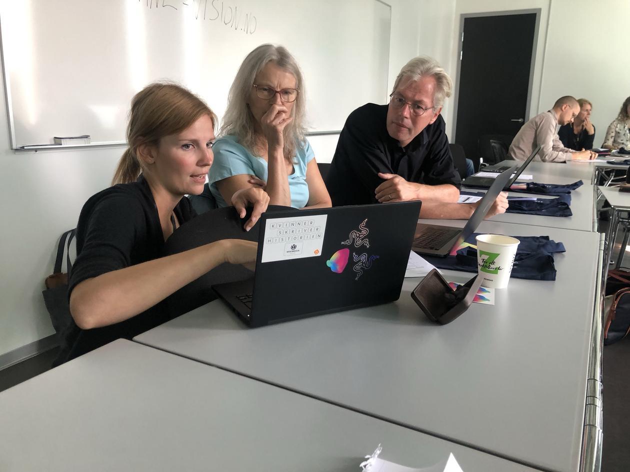 Ragnhild explaining the database