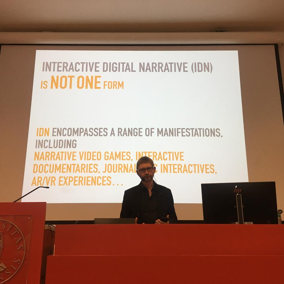 Hartmit Koenitz with slide text: Interactive Digital Narrative (IDN) is NOT ONE form
