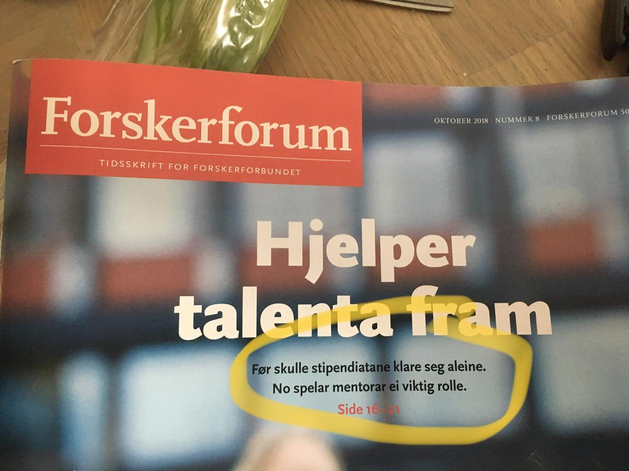 Photo of the cover of Forskerforum magazine.