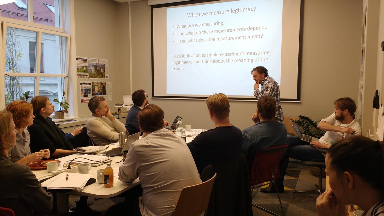 Eric Dickson (New York University) giving a talk during the PROLEG start up-workshop.