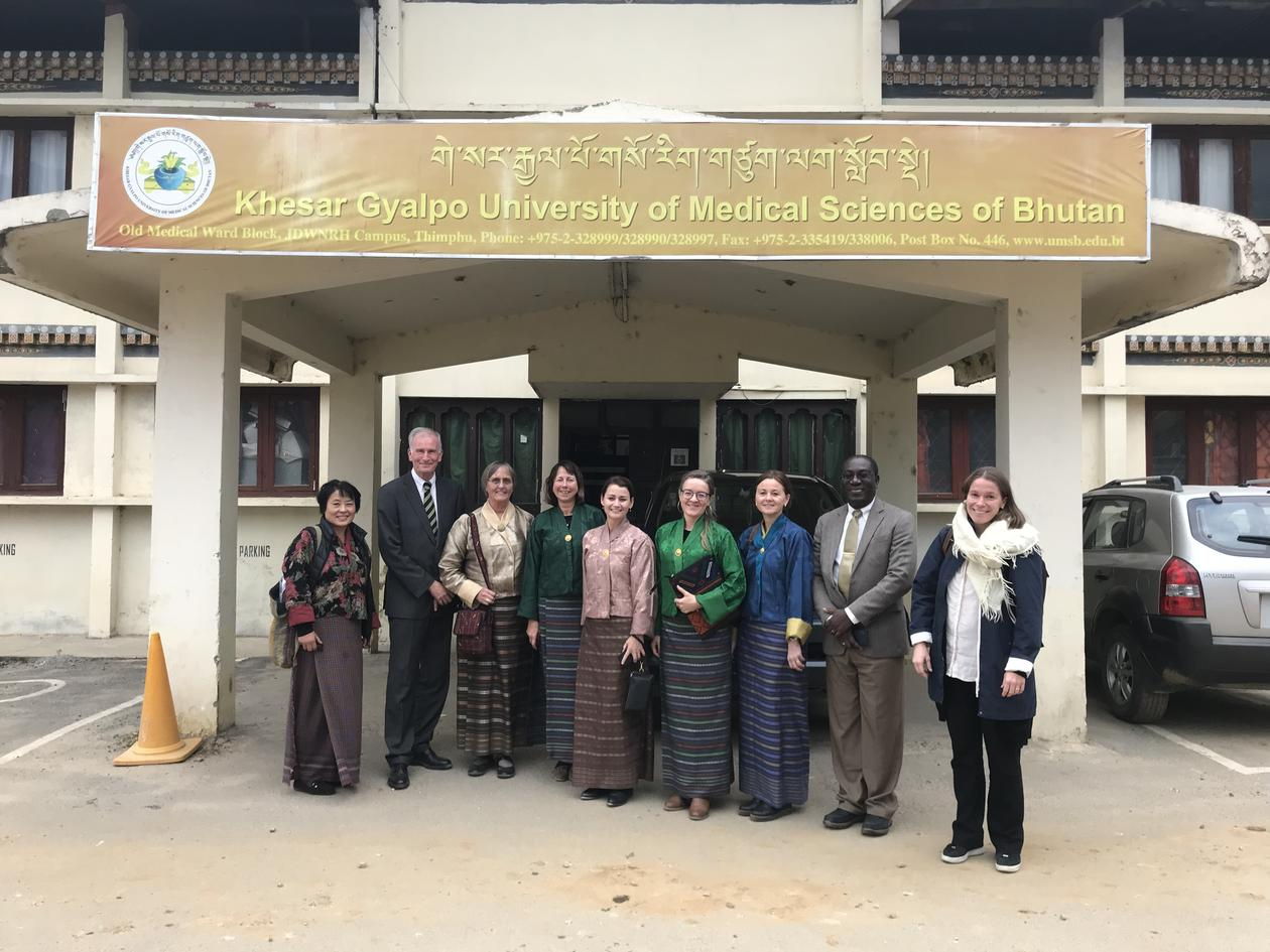 Norwegian group at discussions at Khesar Gyalpo University of Medical Sciences of Bhutan