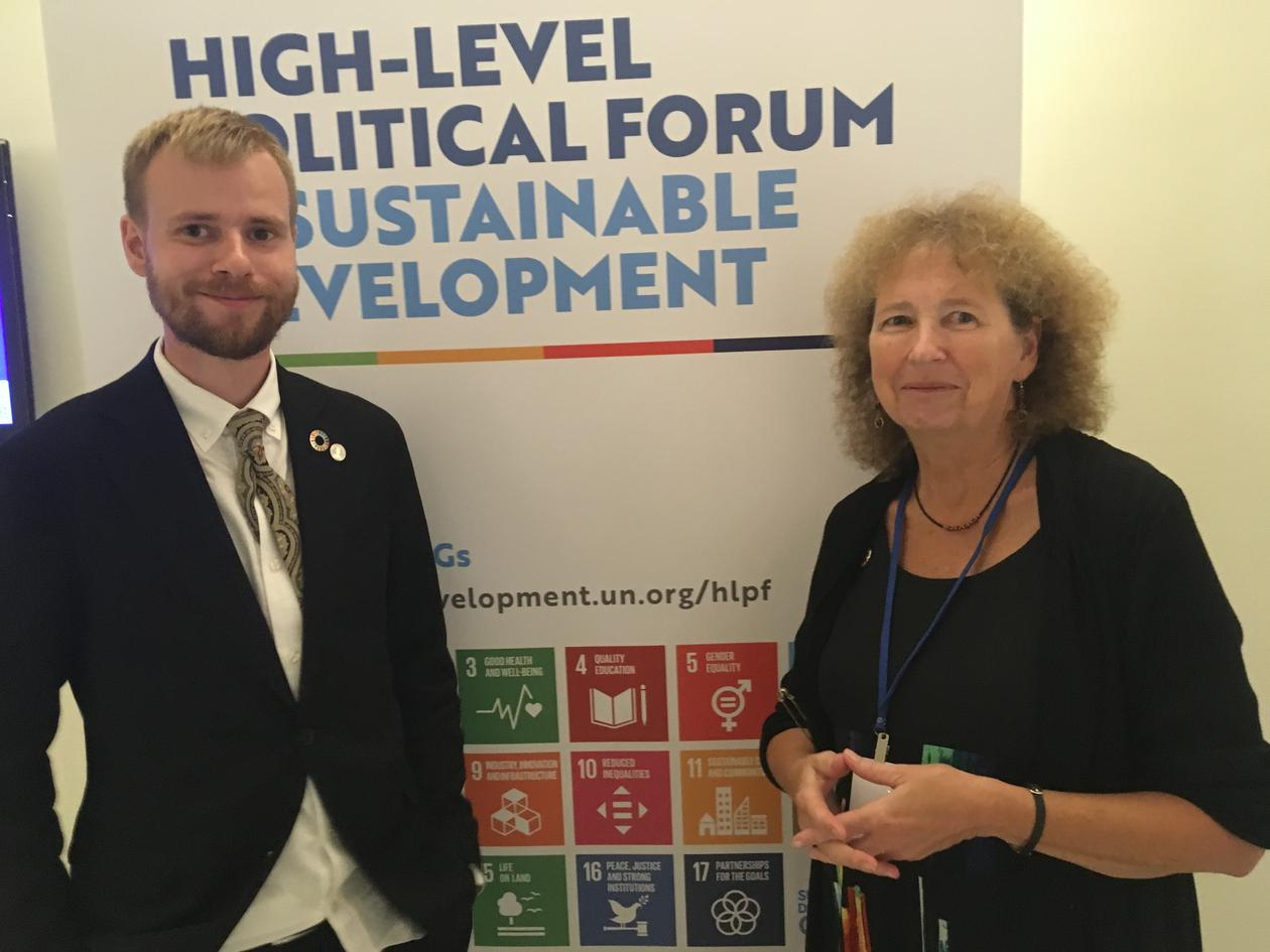 Victoria W. Thoresen (right) and Jakob Grandin at the UN high-level political forum in July 2018, where they co-arranged a workshop on SDG11 as part of building a global network for sustainability.