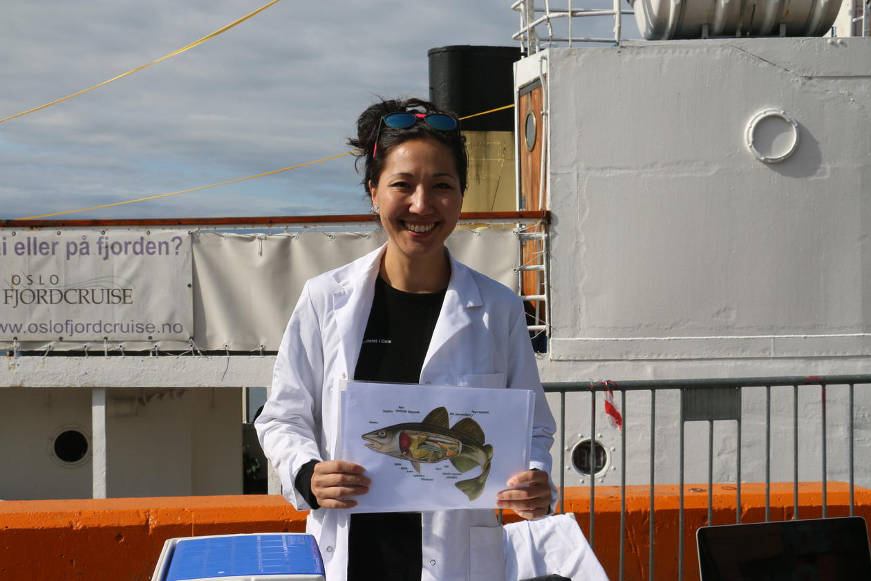 Zhanna Tairova posing with a picture of a cod
