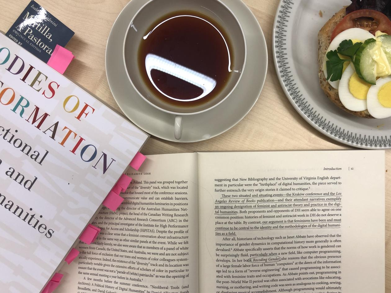 Photo of two copies of Bodies of Information, one closed with post-its between pages and one open with underlined text, together with a cup of tea and an openfaced sandwich. Photo from above.