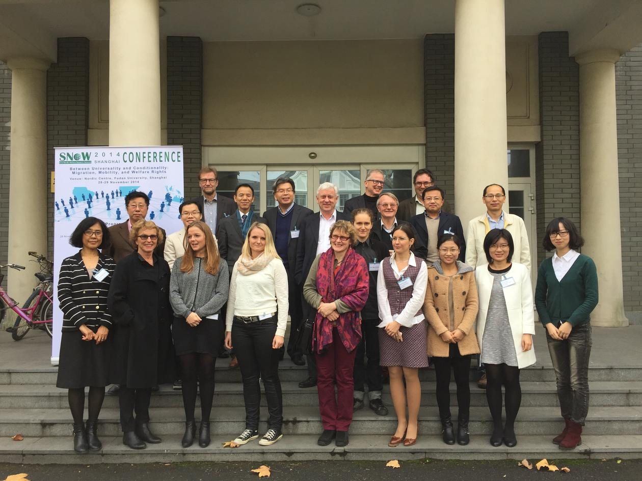 "Participants at the SNoW 2014 conference at the Nordic Centre, Fudan University in Shanghai. The title of the conference was: ""Between Universality and Conditionality: Migration, Mobility and Welfare Rights""."