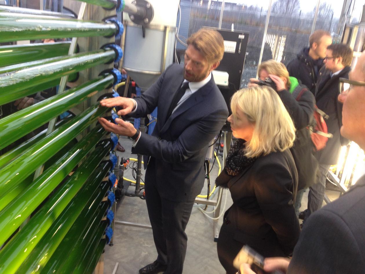 Prosjektleiar Hans Kleivdal viser fram algepilotanlegget for næringsminister Monica Mæland.