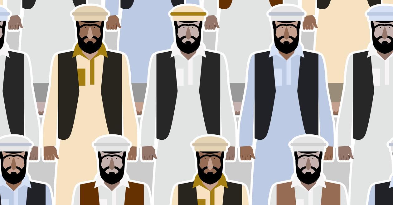 Mannlige arabiske migranter.