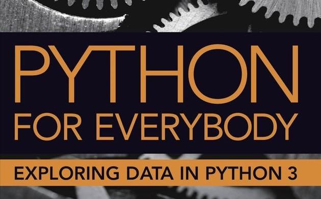 """Utklipp av bokforside med tannhjul i bakgrunnen og teksten """"Python for everybody - Exploring data in Python 3"""""""