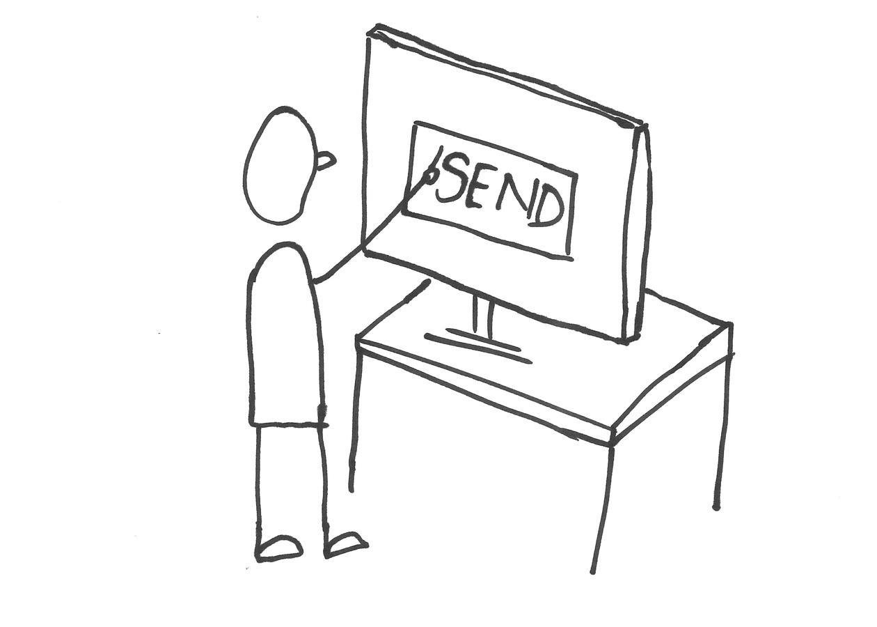 Strekteging av en person som trykker på en send-knapp på PC