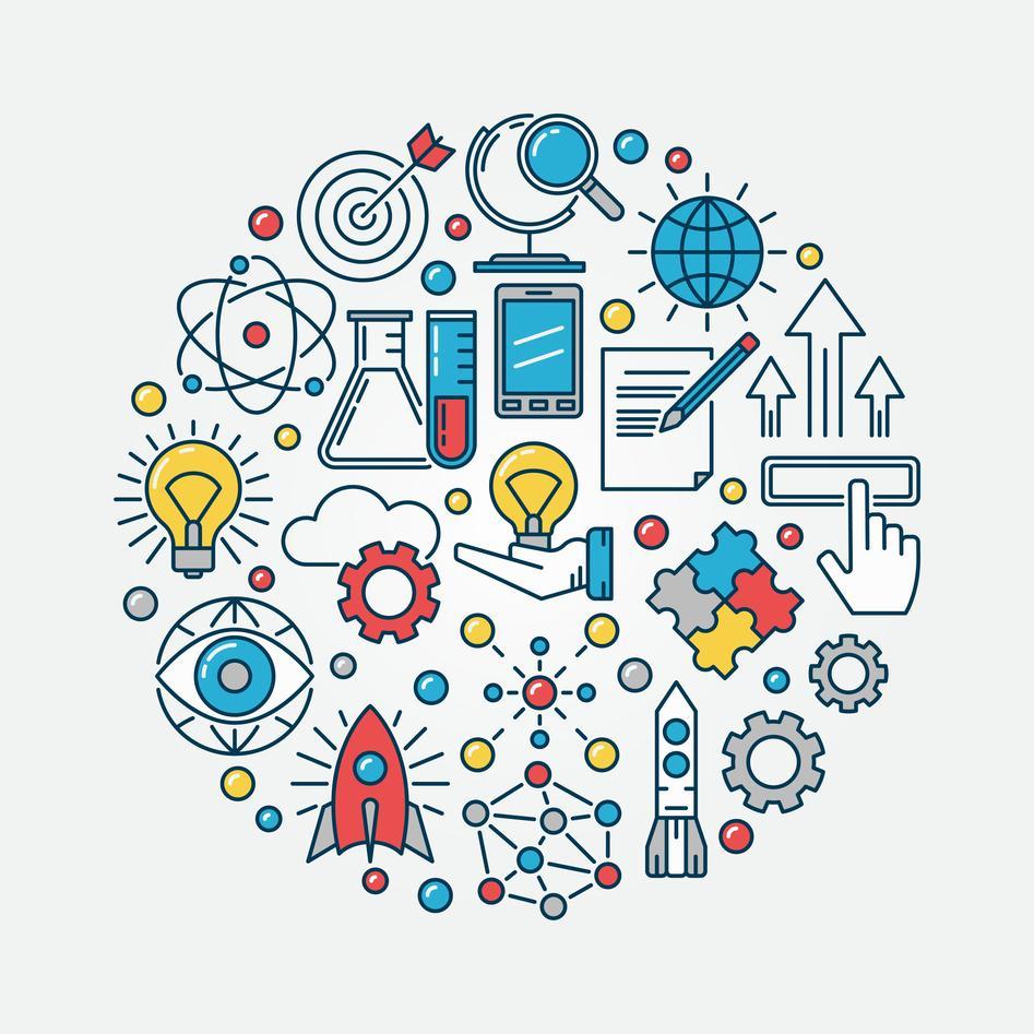 Sirkel fylt med ikoner som representerer innovasjon