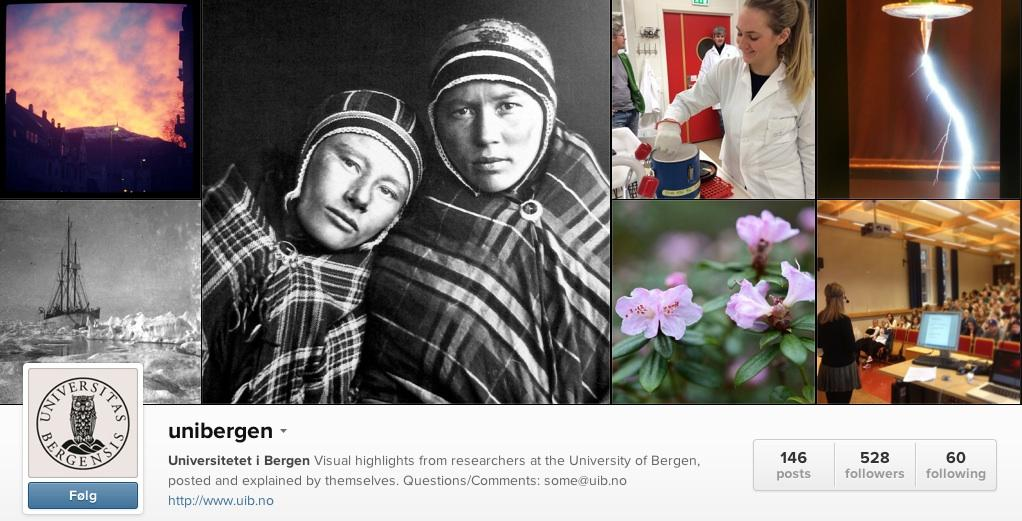 Screenshot of the University of Bergen's Instagram account, where researchers from the university post images from their daily work.