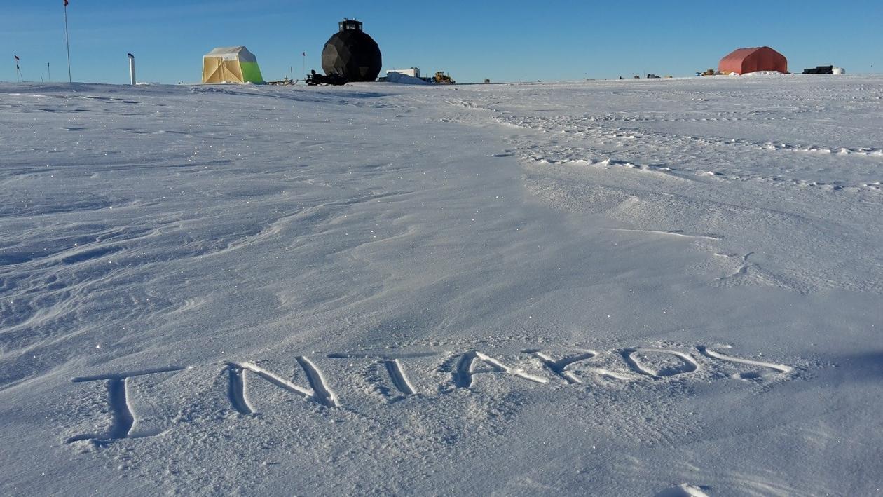 Intaros written on top of snow