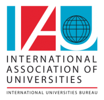 Logo for the International Association of Universities, a global university network of which the University of Bergen is a member.