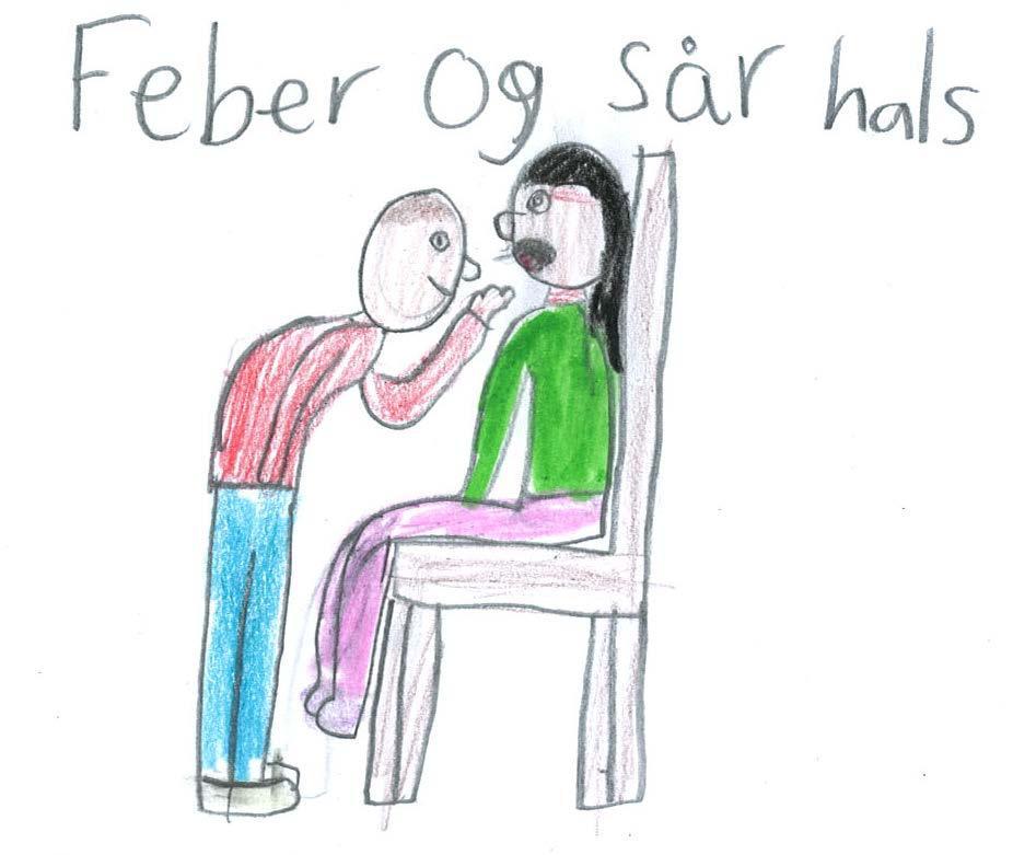 Bildet illustrerer feber og sår hals