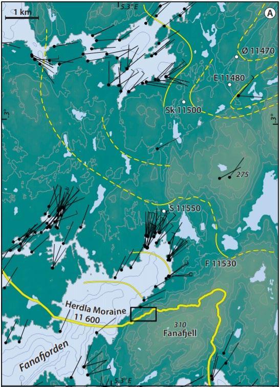 Geologi i Fana: Kart over Fanafjorden fra Nordåsvannet. Herdlamorenen