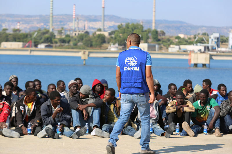 Migrants at the Italian port of Augusta in Sicily after their rescue.