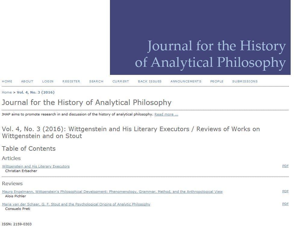 Skjermbilde fra forsiden til Journal for the History of Analytical Philosophy