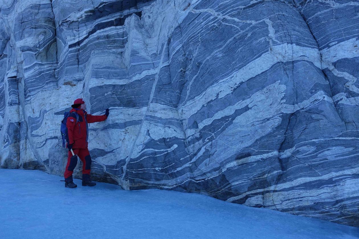 Geoskisser i fjellet i Antarktis