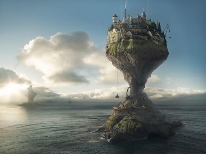 photographic image of fantasy world high above the sea level