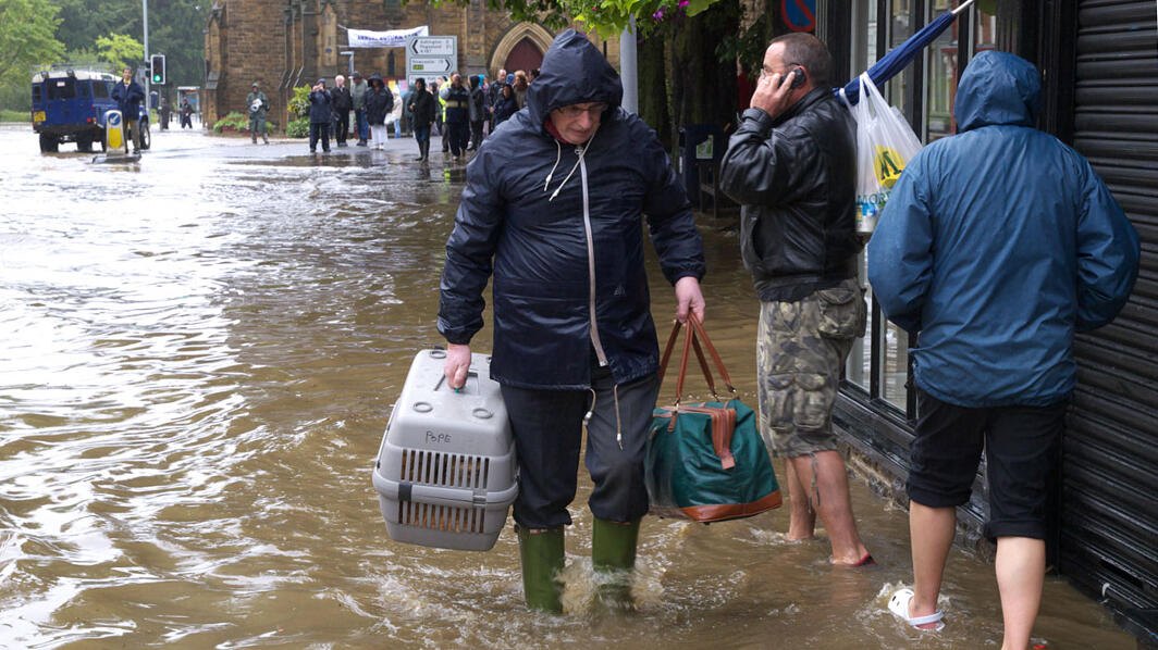 Scene from the Morpeth Flood, UK.