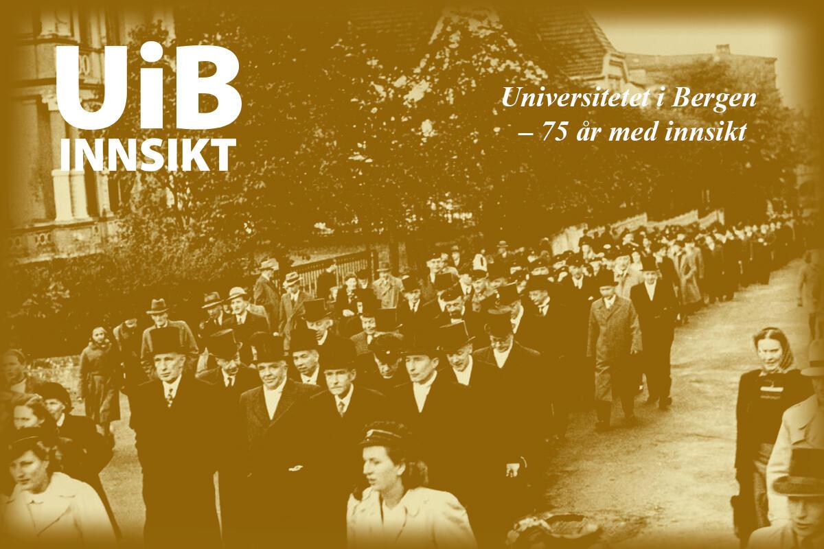 Akademisk prosesjon ved grunnstensnedleggelsen til Universitetet i Bergen i 1946.
