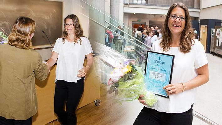 Forskar og prisvinnar Camilla Krakstad saman med dekan Nina Langeland (t.v.)