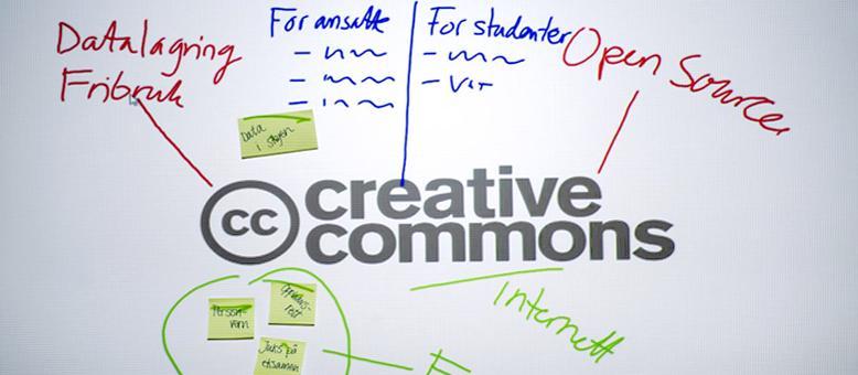 Tavle med tekst om Creative commons