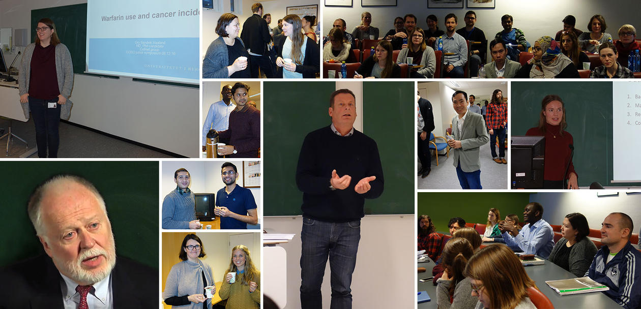 Collage of photos from the Junior Scientist Symposium December 8th 2016. Audience, lecturers, breaks and minging.