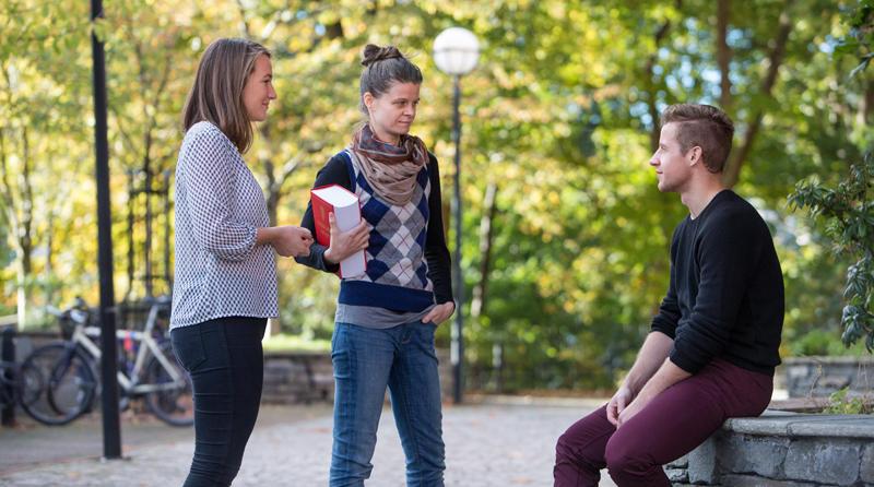 Tre studenter snakker sammen.