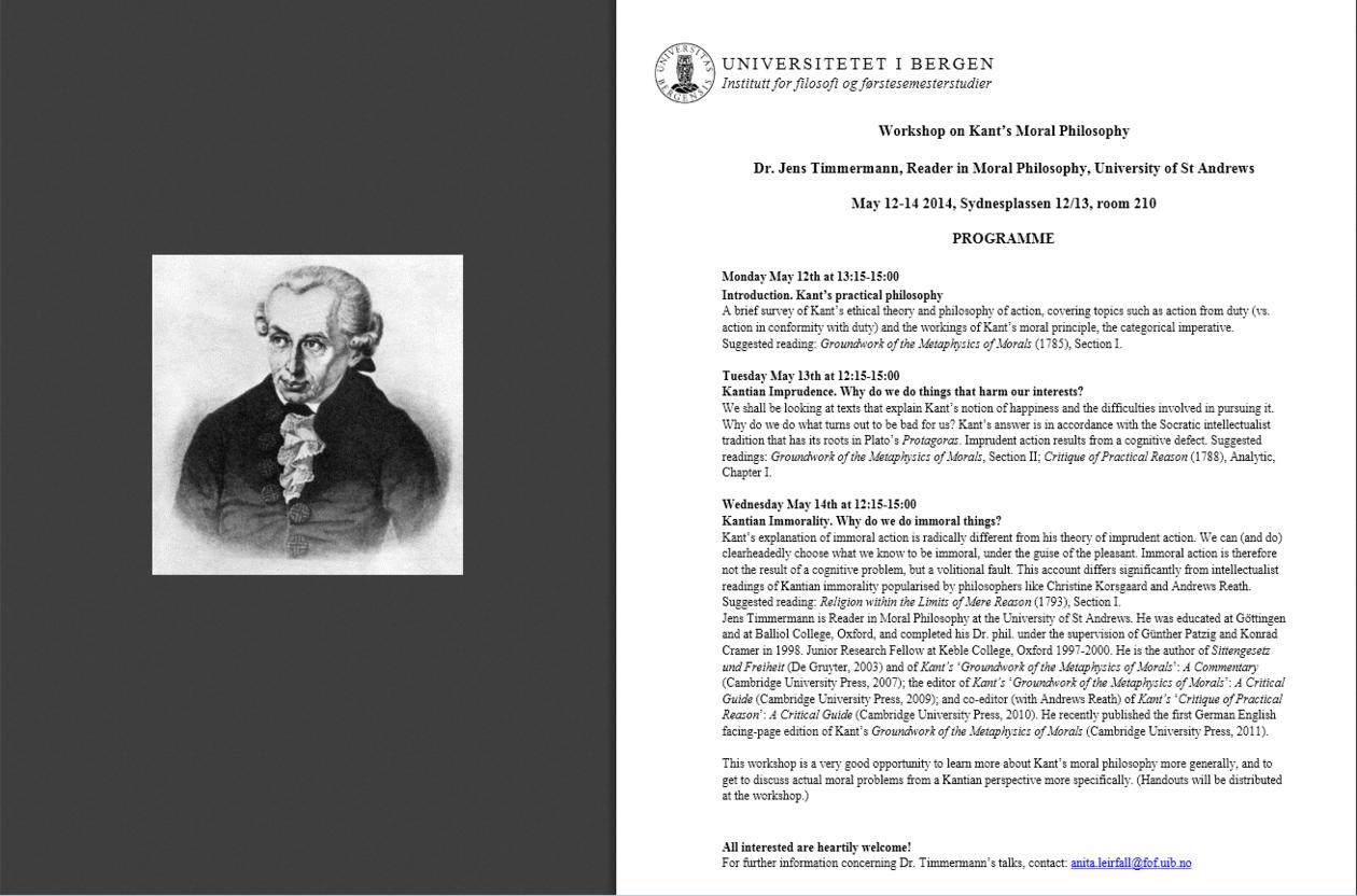 Image of Kant + workshop programme