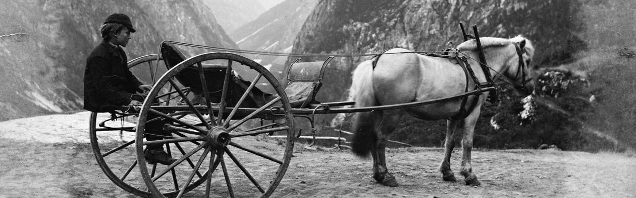 Hest og kjerre i Sogn og Fjordane i 1888