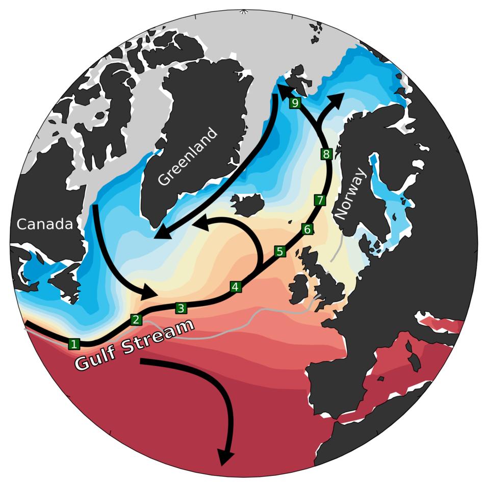 Golfstrømmens forlengelse mot Arktis.Figuren viser hvordan den varme Golfstrømmen gradvis nedkjøles på sin ferd nordover gjennom Nordatlanteren og inn i Norskehavet til den møter isen i Arktis (i grått). De grønne boksene viser målingene som ble brukt ti