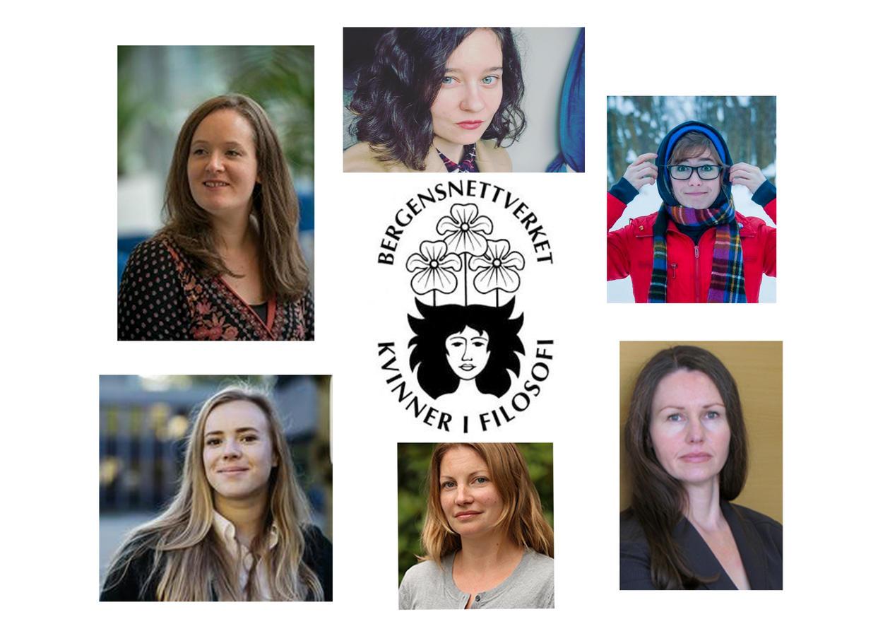 Logoen til Bergensnettverket for kvinner i filosofi med bildet av foredragsholderne på konferansen i rundt logoen.
