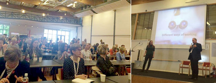 Lars Akslen and Marion Solheim speaking at a conference about communication.