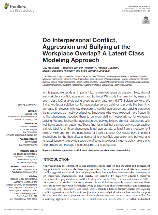 Do Interpersonal Conflict, Aggression and Bullying at the Workplace Overlap? A Latent Class Modeling Approach