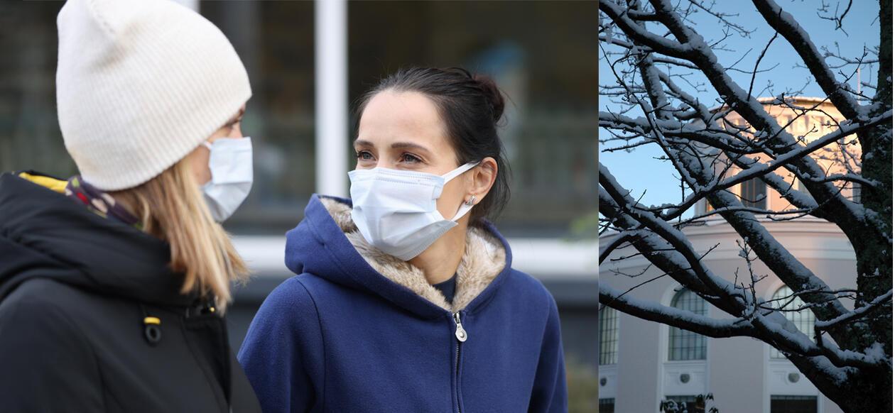 bilde av kvinner med munnbind og universitetsmuseet