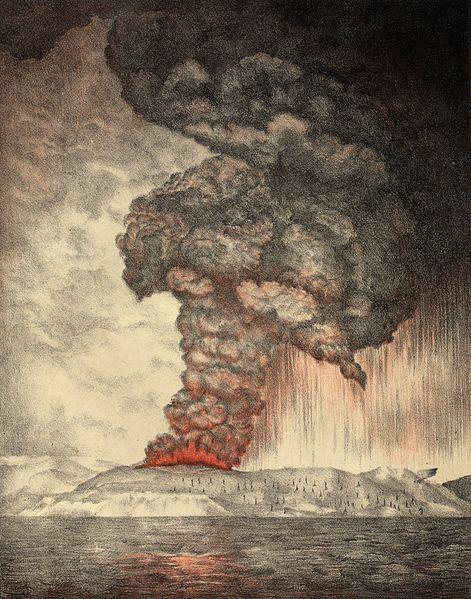 Lithograph of the 1883 eruption of Krakatoa