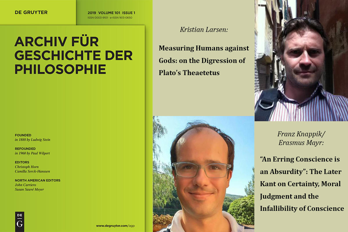 "Cover of the journal ""Archiv für Geschichte der Philosophie"", and picture of Kristian Larsen and Franz Knappik and titles of their poublications in the journal"