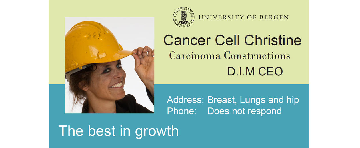 Business card of Christine the cancer cell.