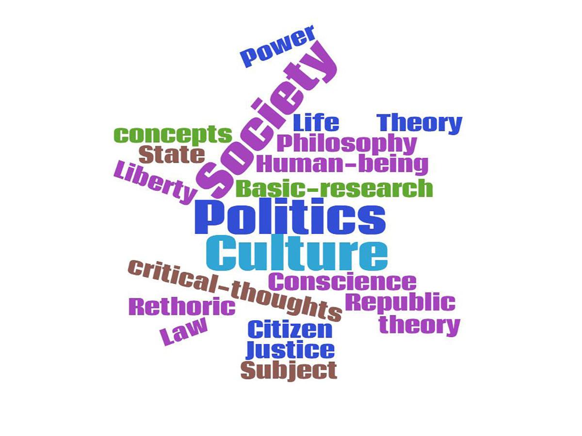 Ordsky med teksten Culture, Society and Politics fremhevet